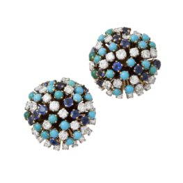 clip earrings sapphire turquoise france 1950s