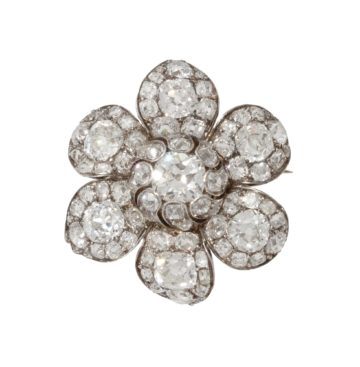 antique diamond flower brooch ca 1840