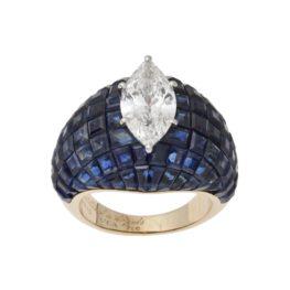 van cleef & arpels ring serti invisible diamond sapphire 1980s
