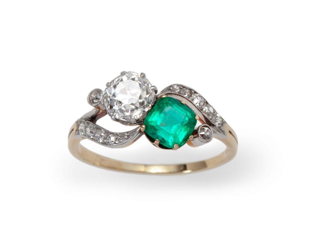 ring belle epoque emerald diamond ca 1910