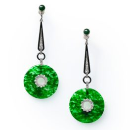 art deco jadeite diamond enamel earrings 1920