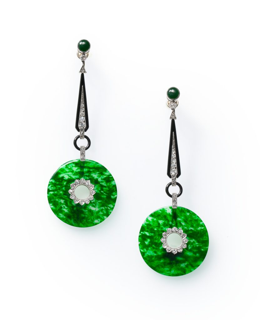 art deco jadeite diamond enamel earrings 1920