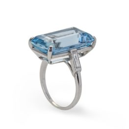 cartier aquamarine ring and diamond, circa 1960