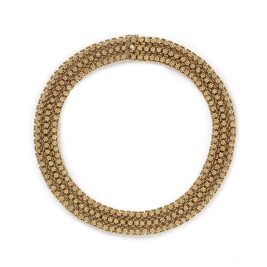 bulgari 3 row necklace yellow gold 1970s