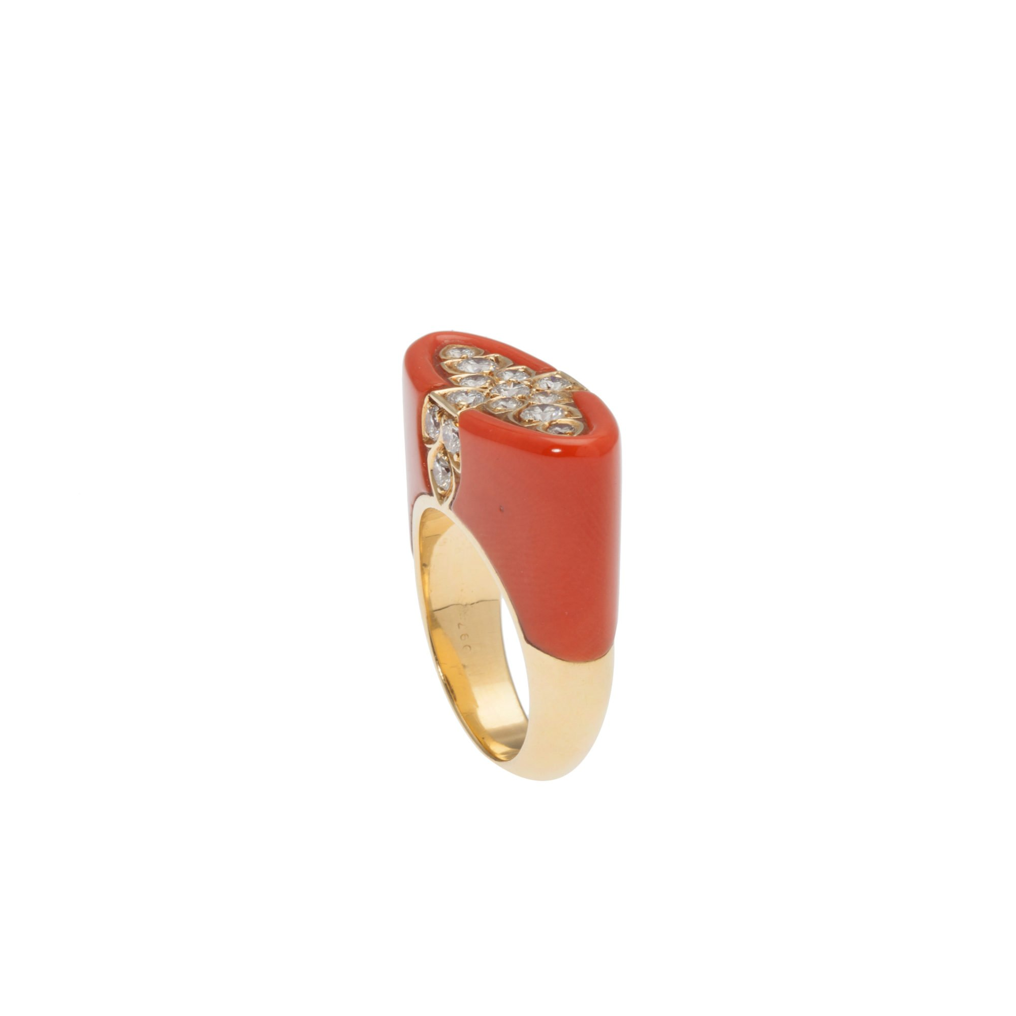coral and free salmon sapphire cabochon rings overstock ring michael round bamboo orange product shipping watches today valitutti jewelry