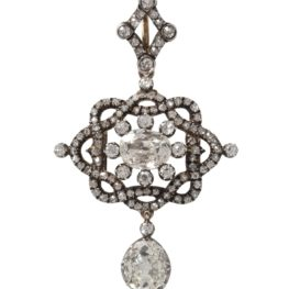 antique diamond pendant brooch 1880s