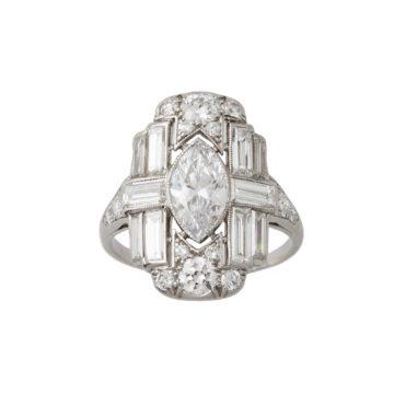art deco diamond ring 1920s