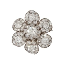 antique diamond flower brooch ca 1840