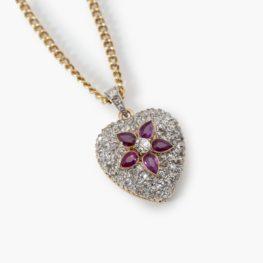 Antique heart diamond ruby pendant