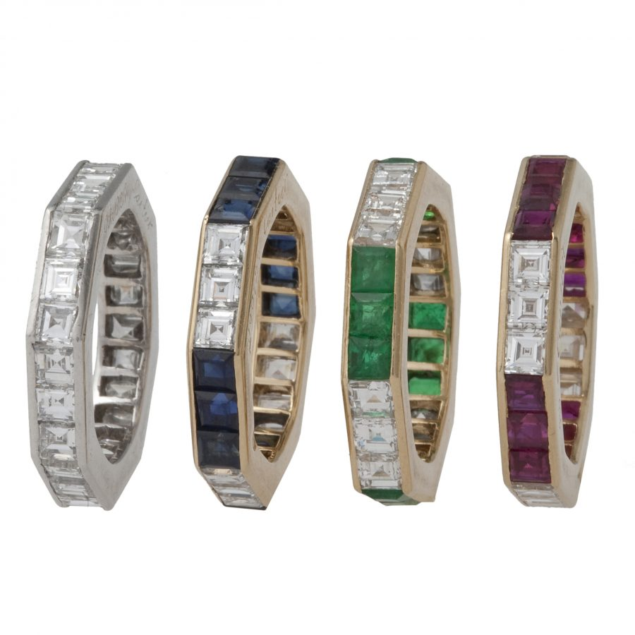 cartier set of four eternitiy rings ruby emerald sapphire diamond