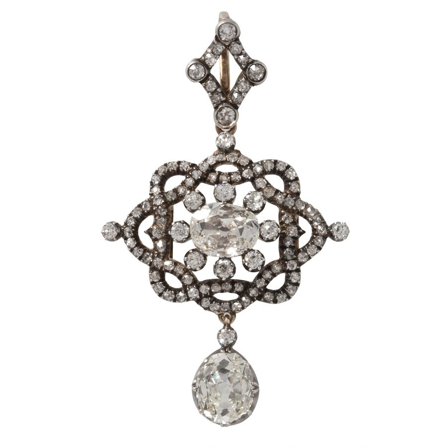 antique 19th century brooch pendant diamonds as a pendant