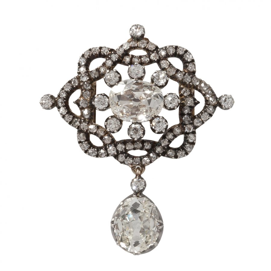 antique 19th century brooch pendant diamonds as a brooch