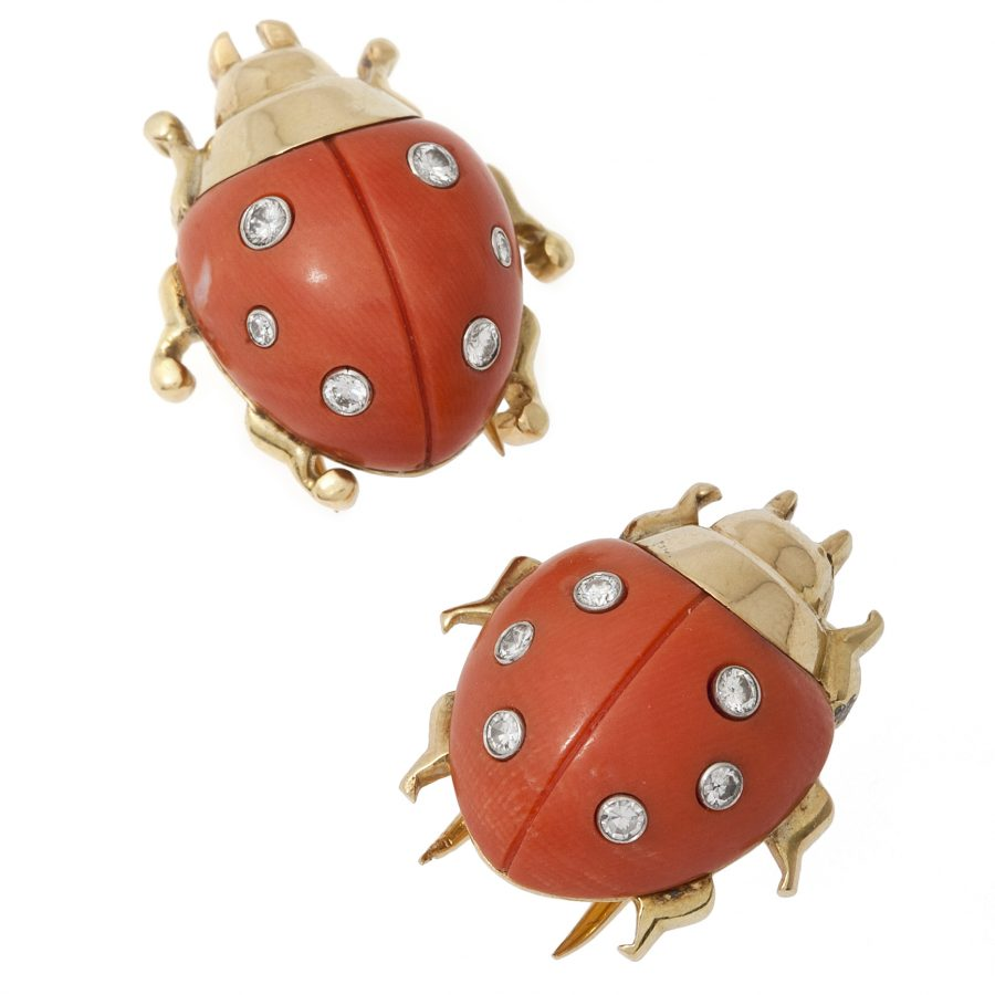 two cartier ladybird brooches coral