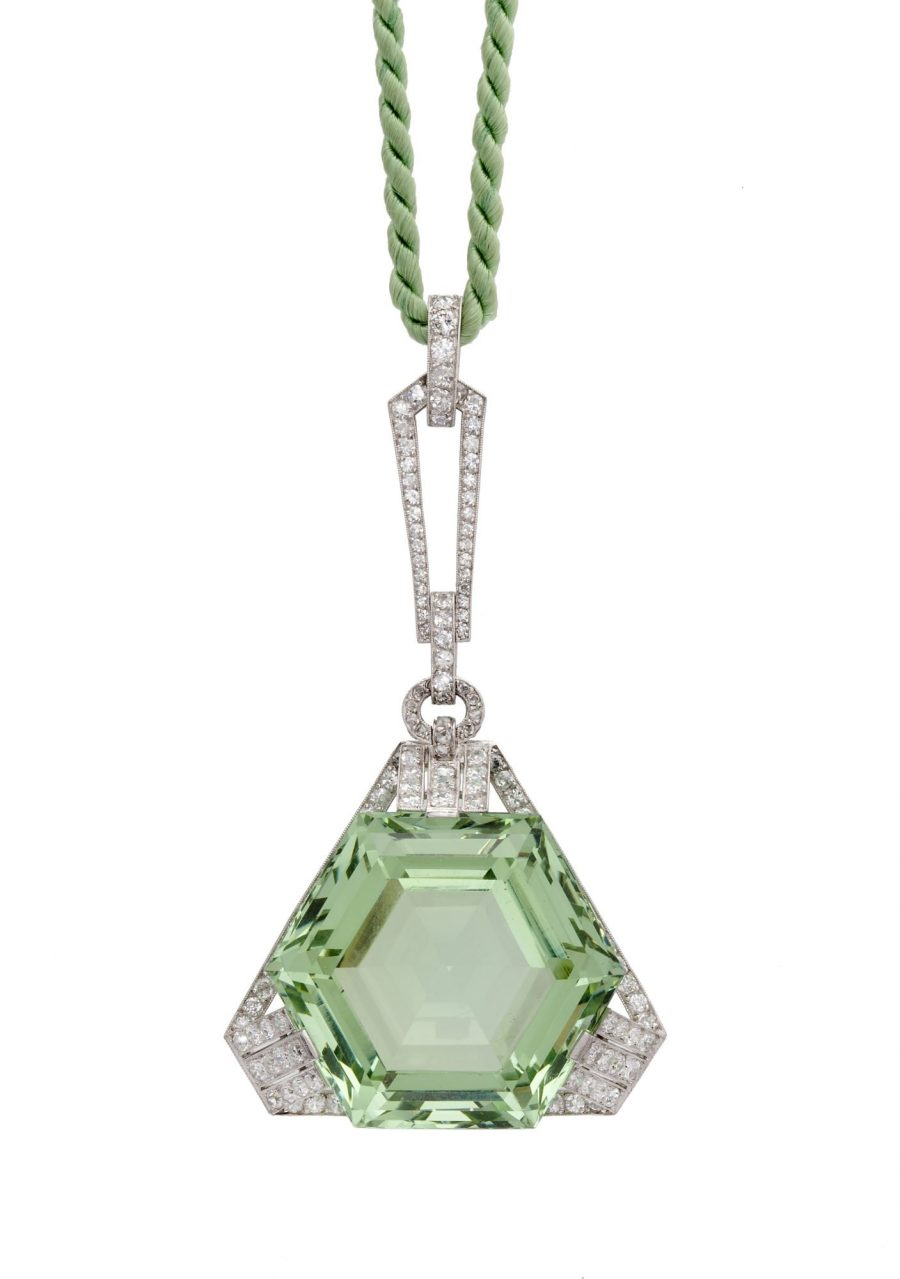 art deco pendant green beryl 1920s