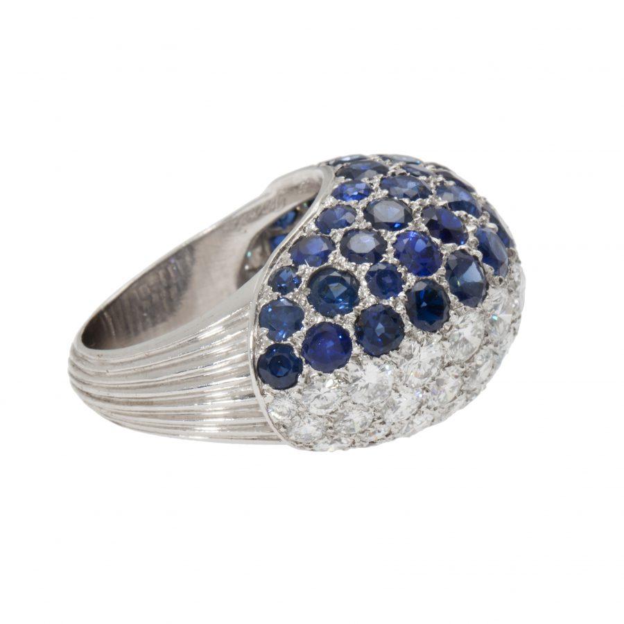 cartier bombé diamond and sapphire ring