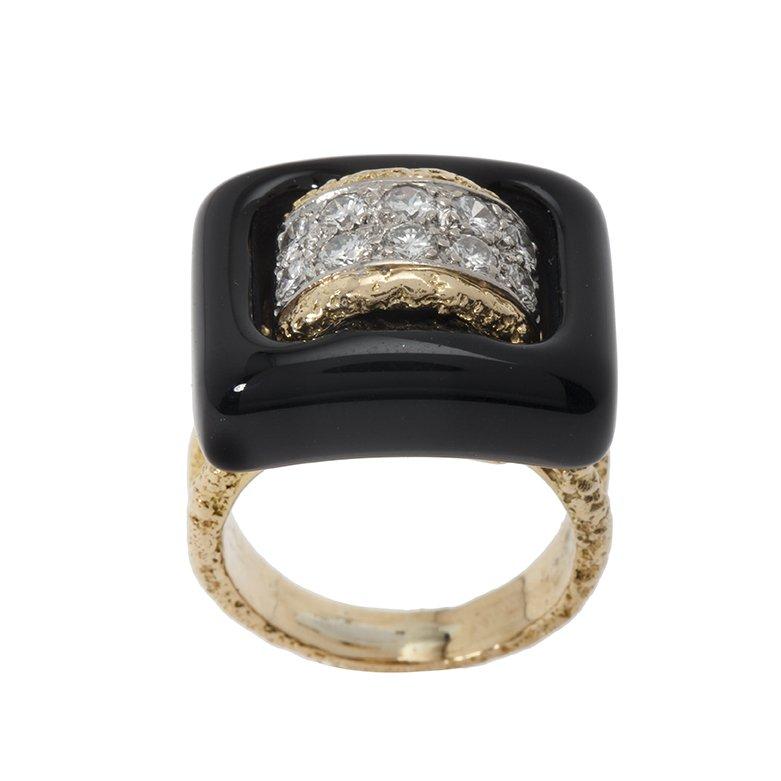 van cleef & arpels ring onyx diamond 1970s