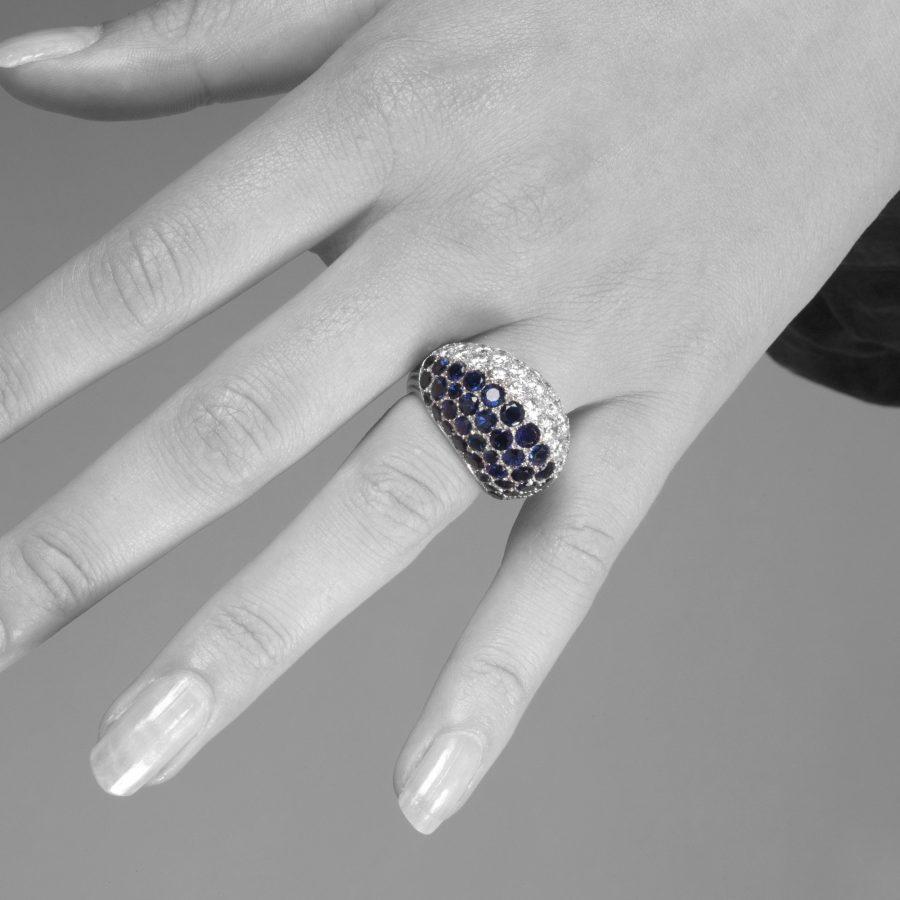 Cartier platinum bombé ring diamond blue sapphire