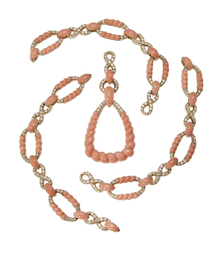 pierre brun necklace bracelet pendant coral diamond 1974