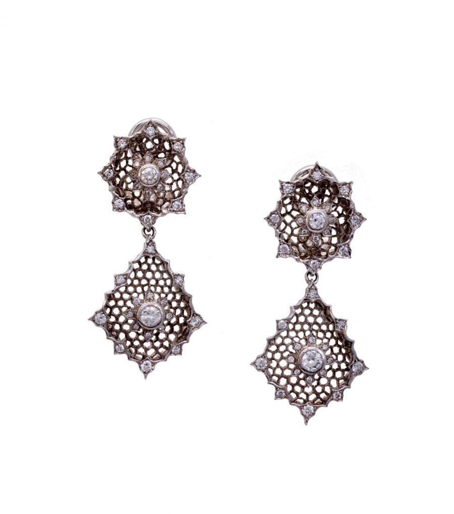 earrings buccellati italy white gold diamonds