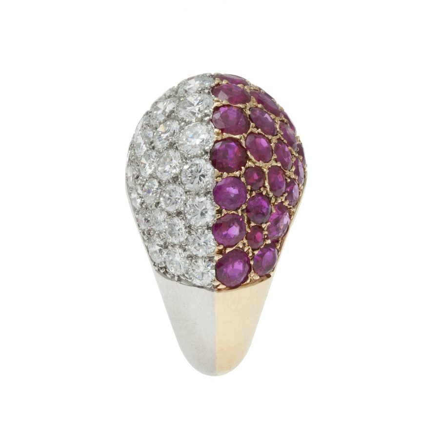 cartier diamond ruby bombé ring 1960s