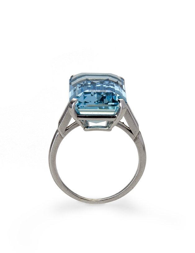 cartier aquamarine ring and diamond, circa 1960