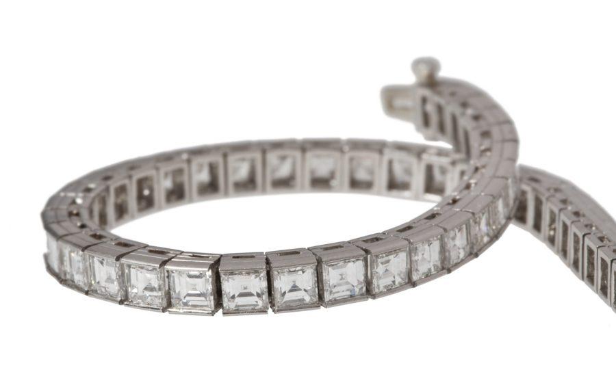 Oscar Heyman square diamond line bracelet 1950's