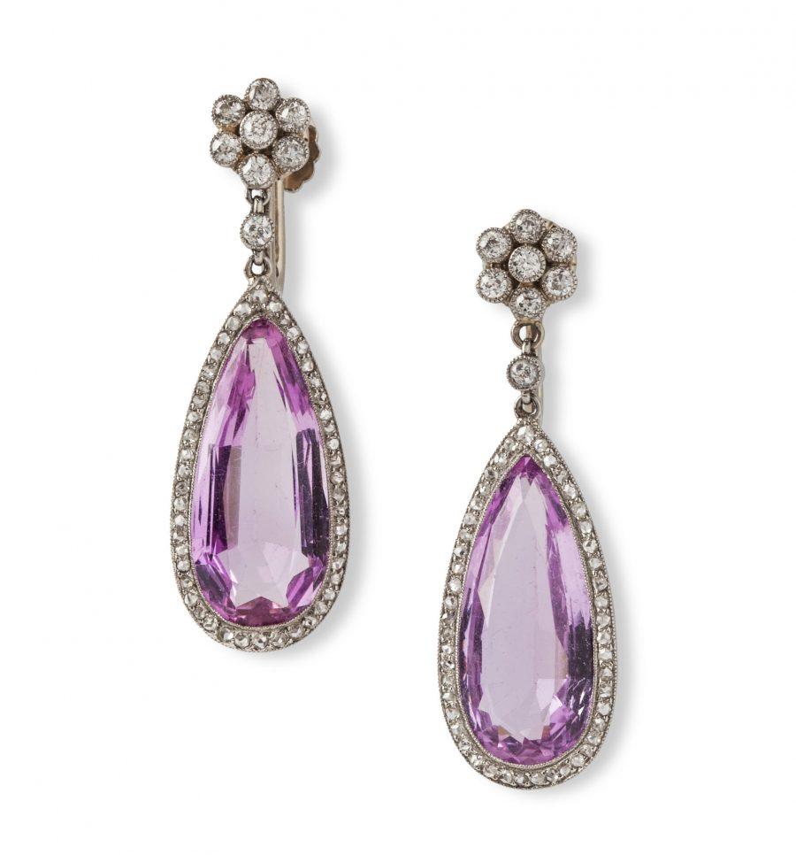 caldwell & co art deco earrings pink topaz