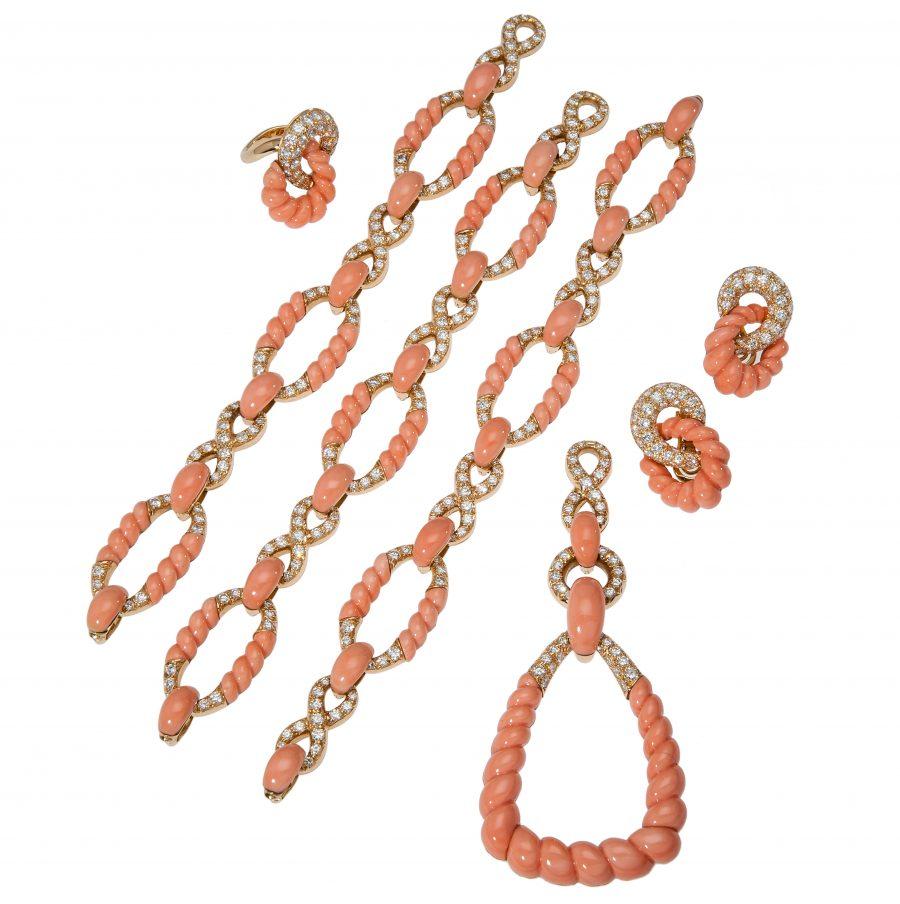 pierre brun coral diamond set penant bracelets necklace 1970s