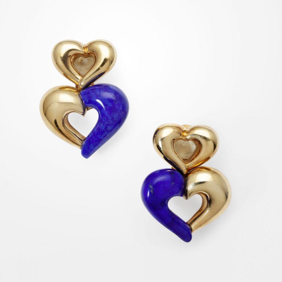 Van Cleef & Arpels heart earrings lapis lazuli
