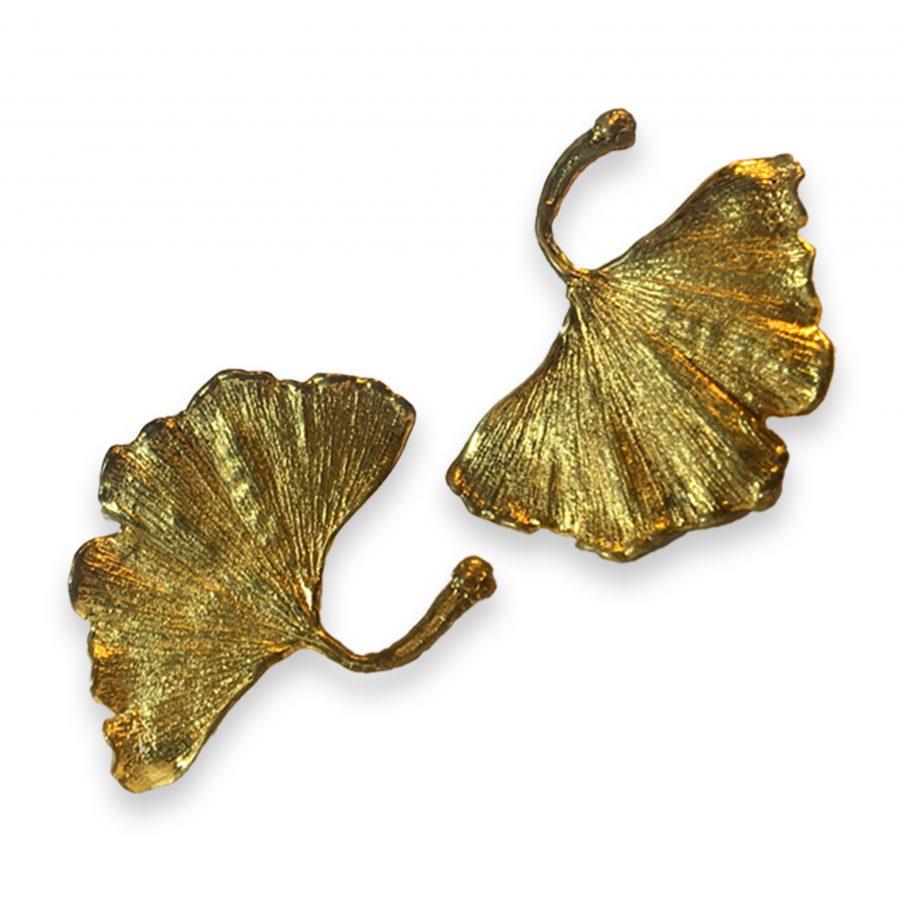 claude lalanne gilt bronze ginkgo leaf earrings for artcurial, paris
