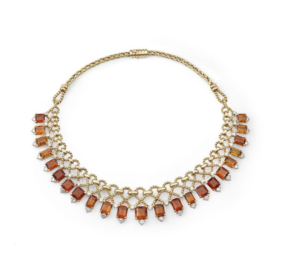 Cartier citrine and diamond necklace