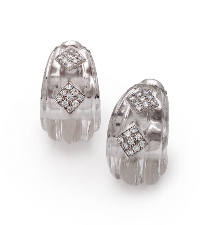 David Webb rock crystal and diamond earrings