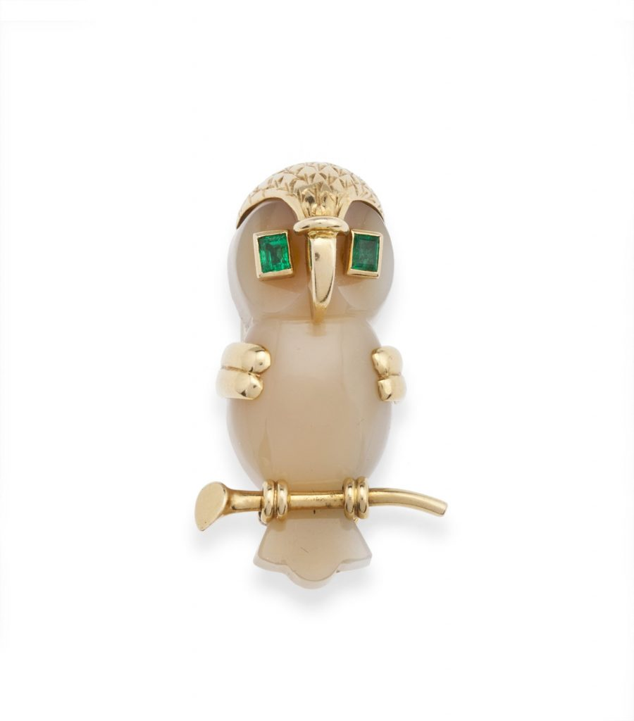 Cartier London brooch owl dated 1955
