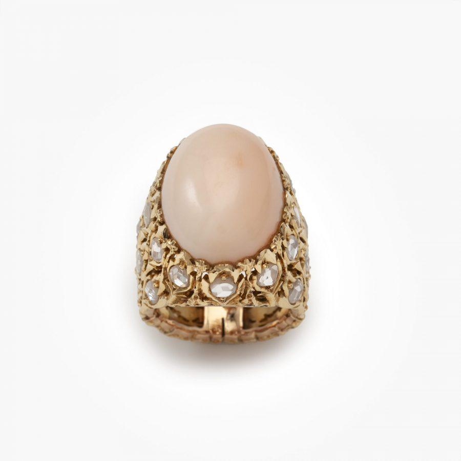 Buccellati angel skin coral and diamond ring