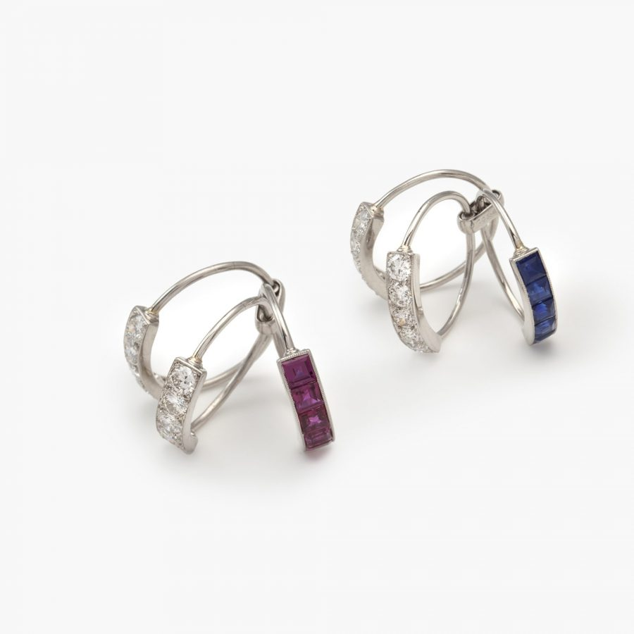 J.E. Caldwell two Art Deco rings diamond ruby sapphire