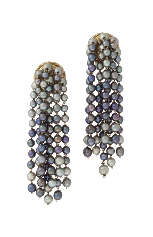 René Boivin grey pearl earrings