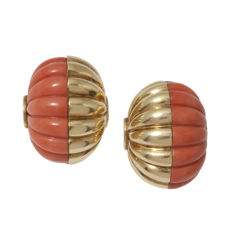 Cartier coral clip earrings Paris ca 1970