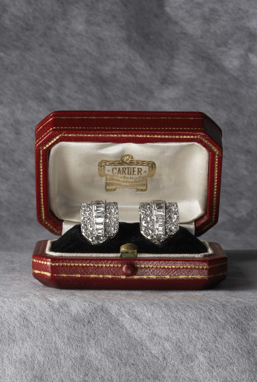 Cartier Art Deco clip diamond earrings dress clips