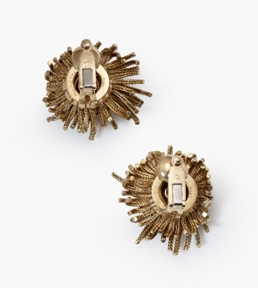 Marchak earrings diamond turquoise ruby 1950s