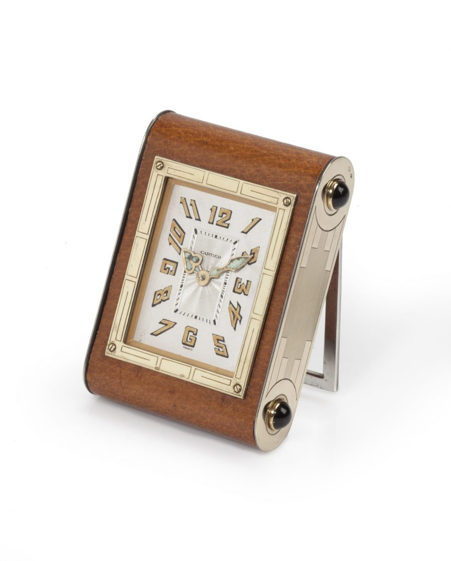 Cartier brown leather desk clock ca 1930