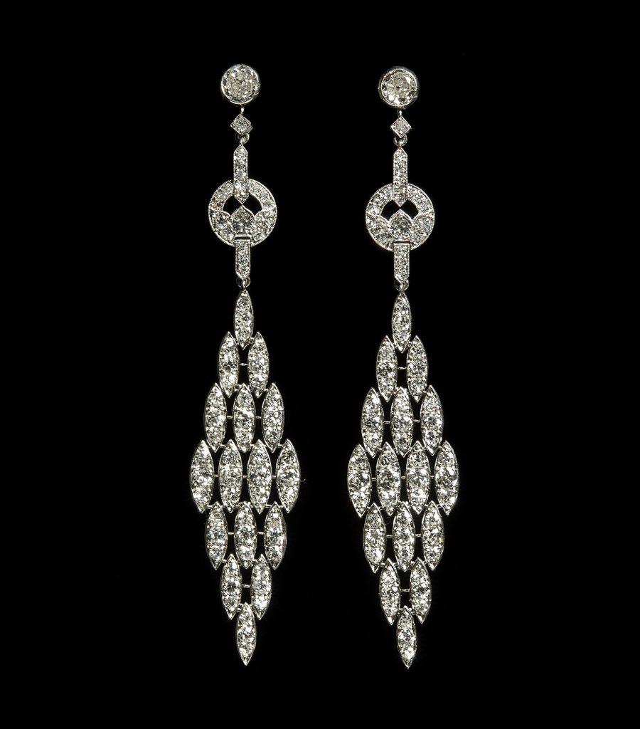 Lacloche Art Deco diamond earrings ca 1925