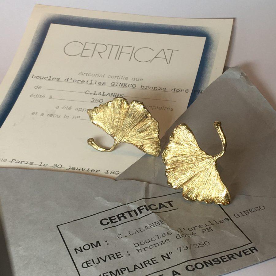 claude lalanne gilt bronze ginkgo leaf earrings artcurial 1992