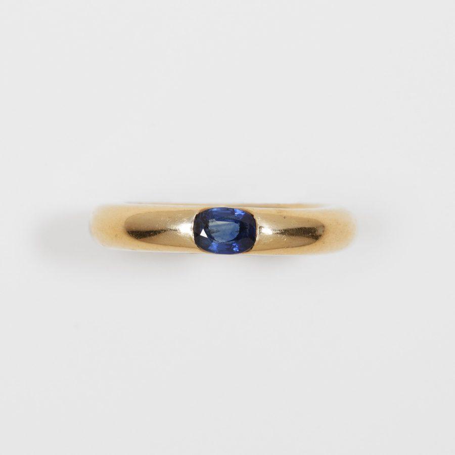 two cartier bombé rings sapphire diamond
