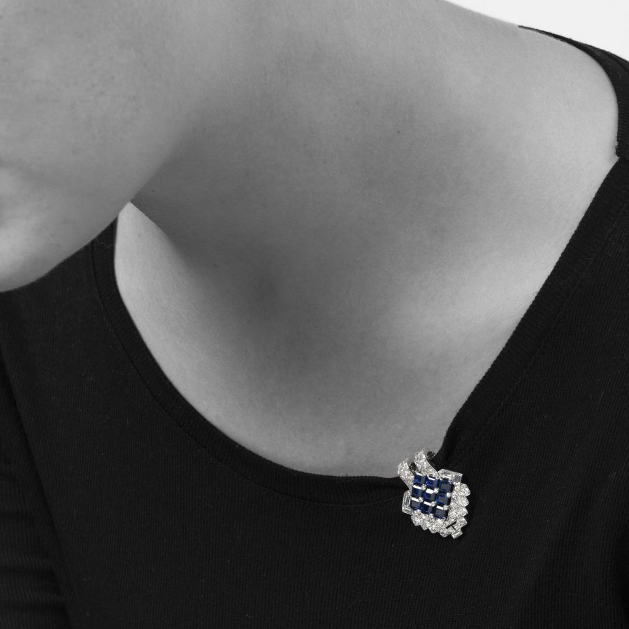 Cartier Art Deco dress clip diamond blue sapphire