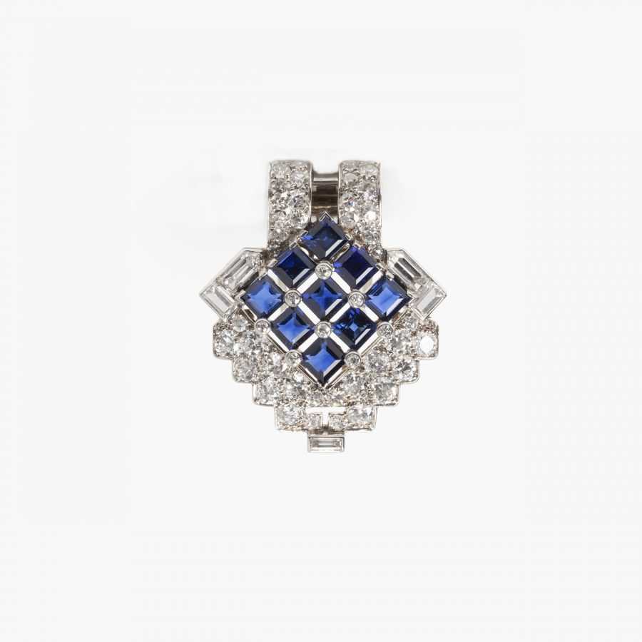 Cartier Art Deco dress clip diamond blue sapphire