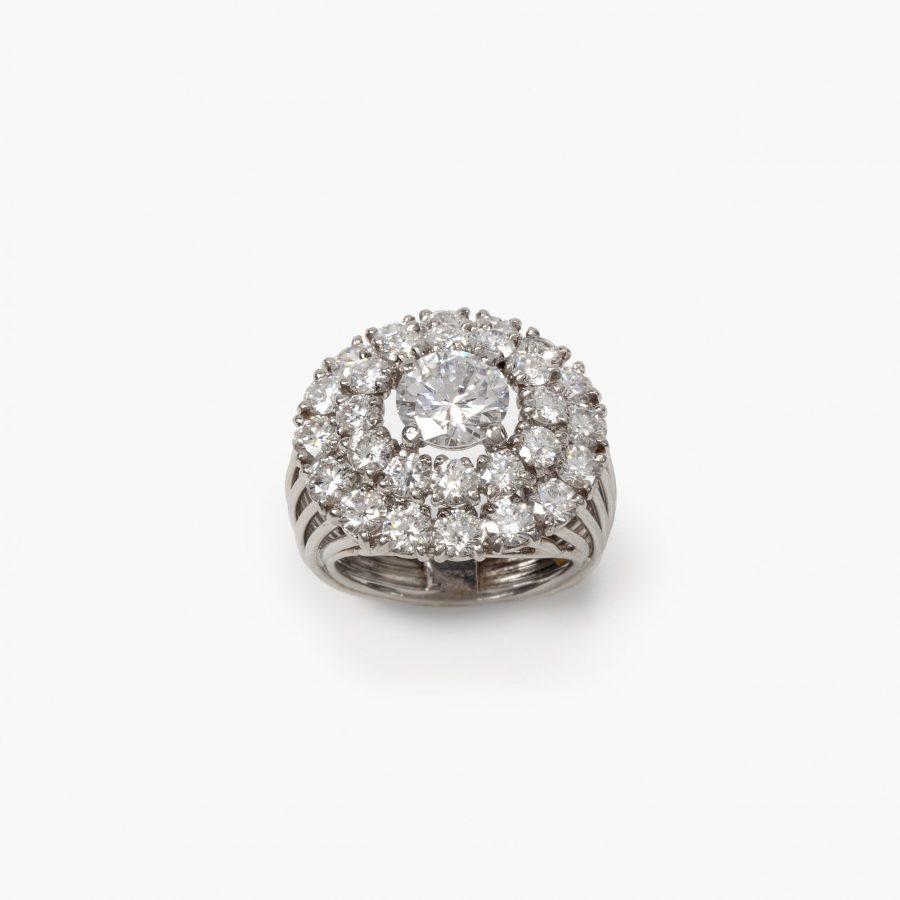 Cartier platinum diamond set double halo ring Paris 1956