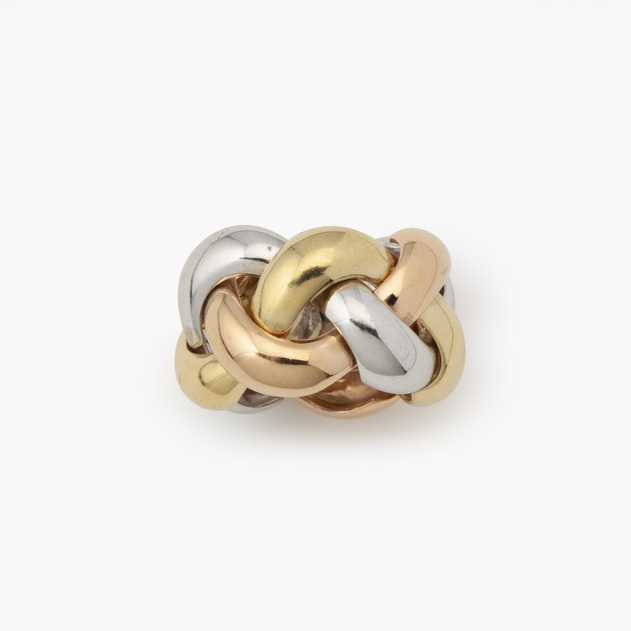 3 colours golden braided flexible ring