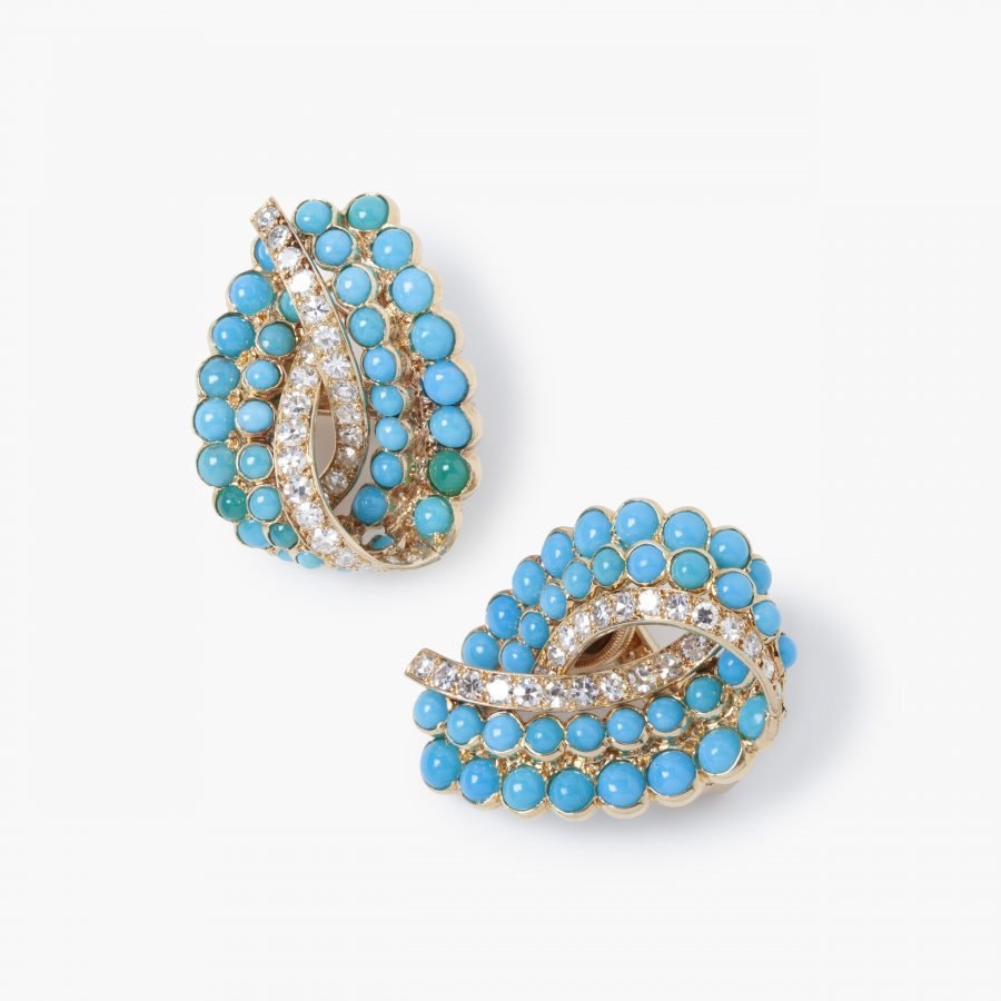 Cartier turquoise and diamond clip earrings, Paris, ca 1950