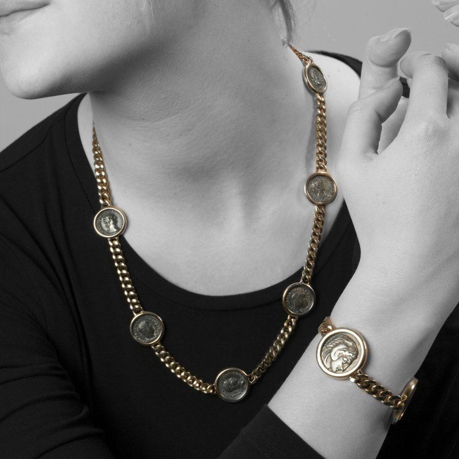 Bvlgari Monete antique silver coin necklace and bracelet Bulgari Italy
