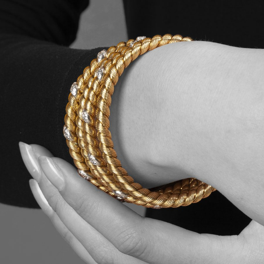 Van Cleef & Arpels Paris set of bangles twist rope design ca 1970 Georges Lenfant